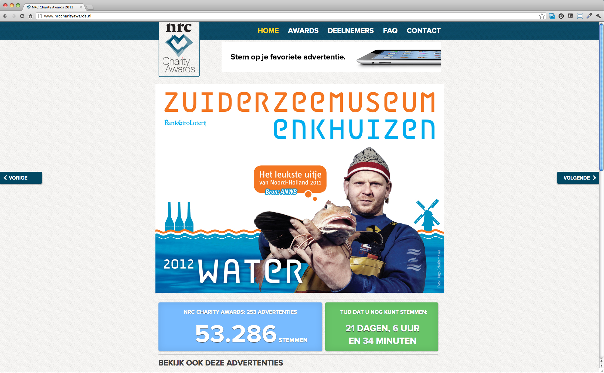 screenshot NRC Charity Awards homepage